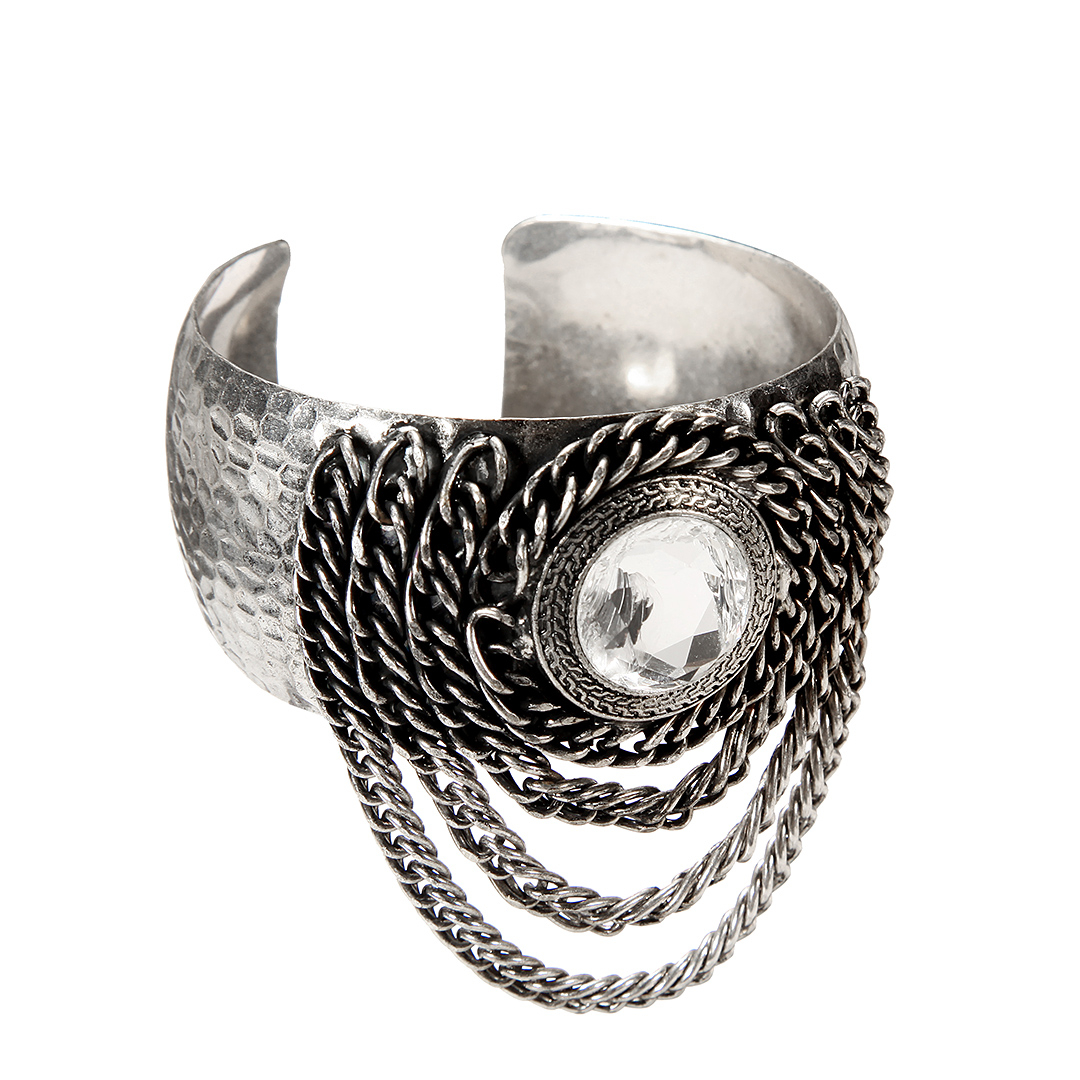 Cuff Bracelet with Chain and Crystal Details