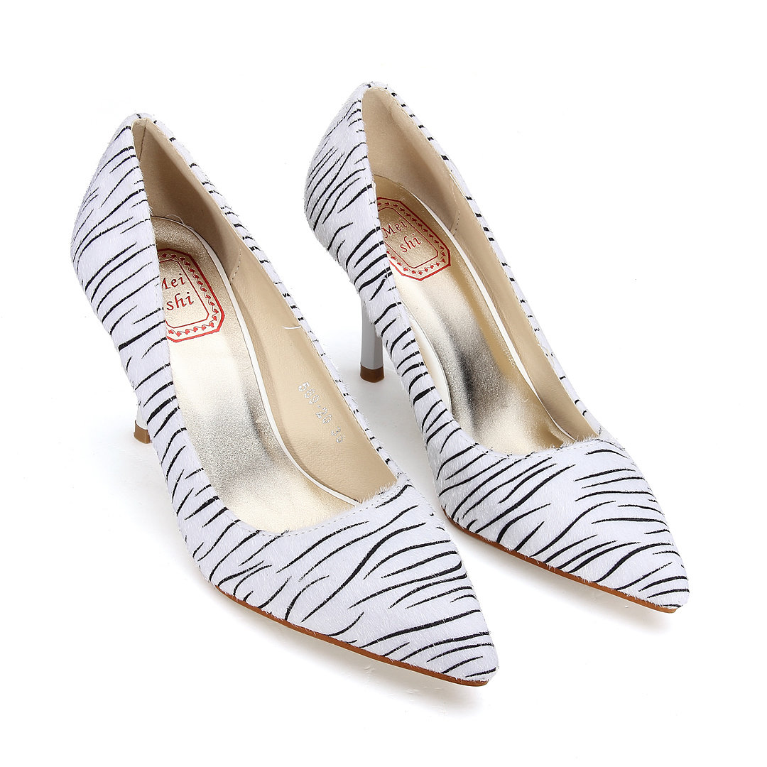 Stripe Pointed High Heels
