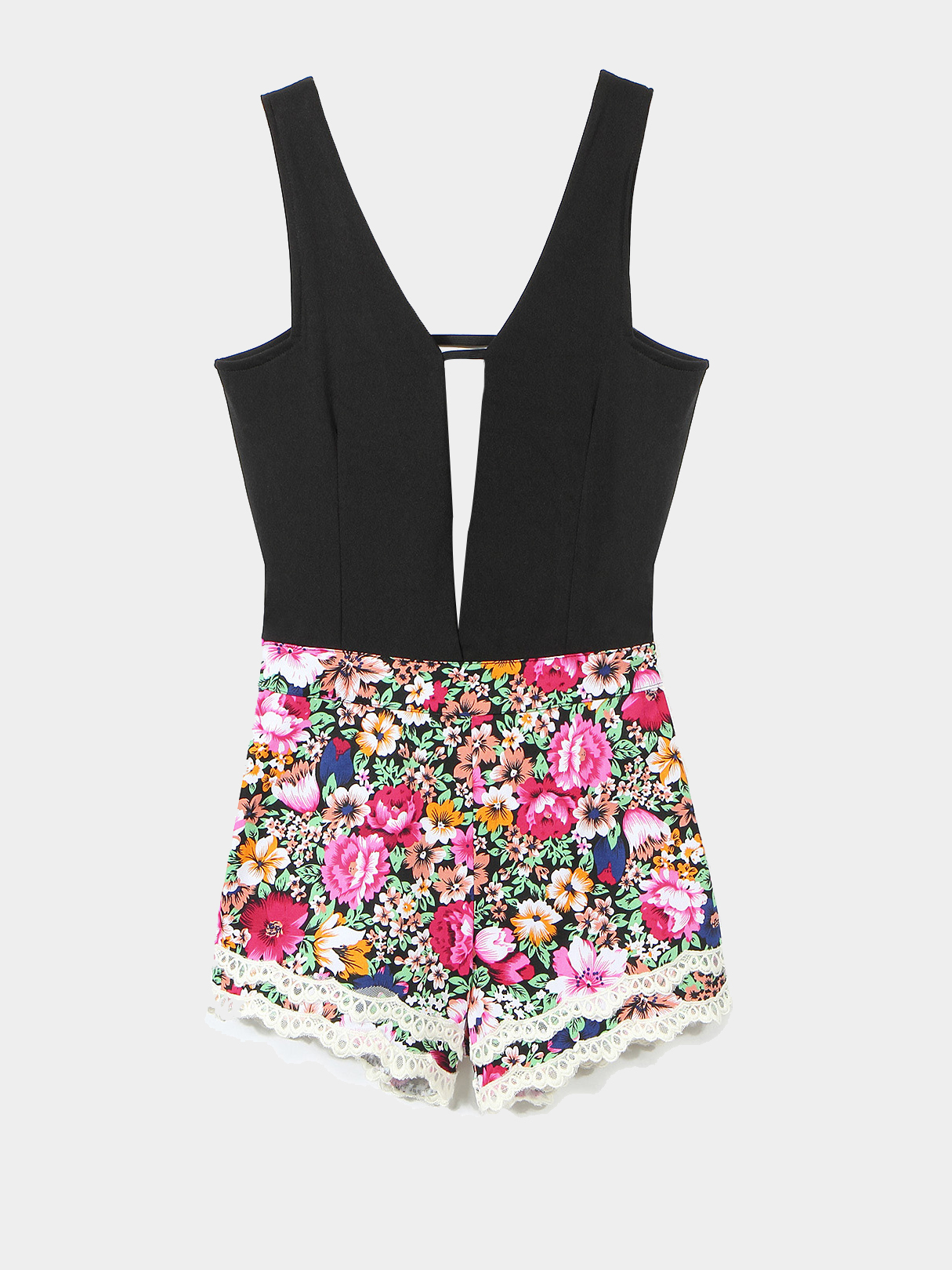 Floral Print Playsuit With Plung Strap Detail
