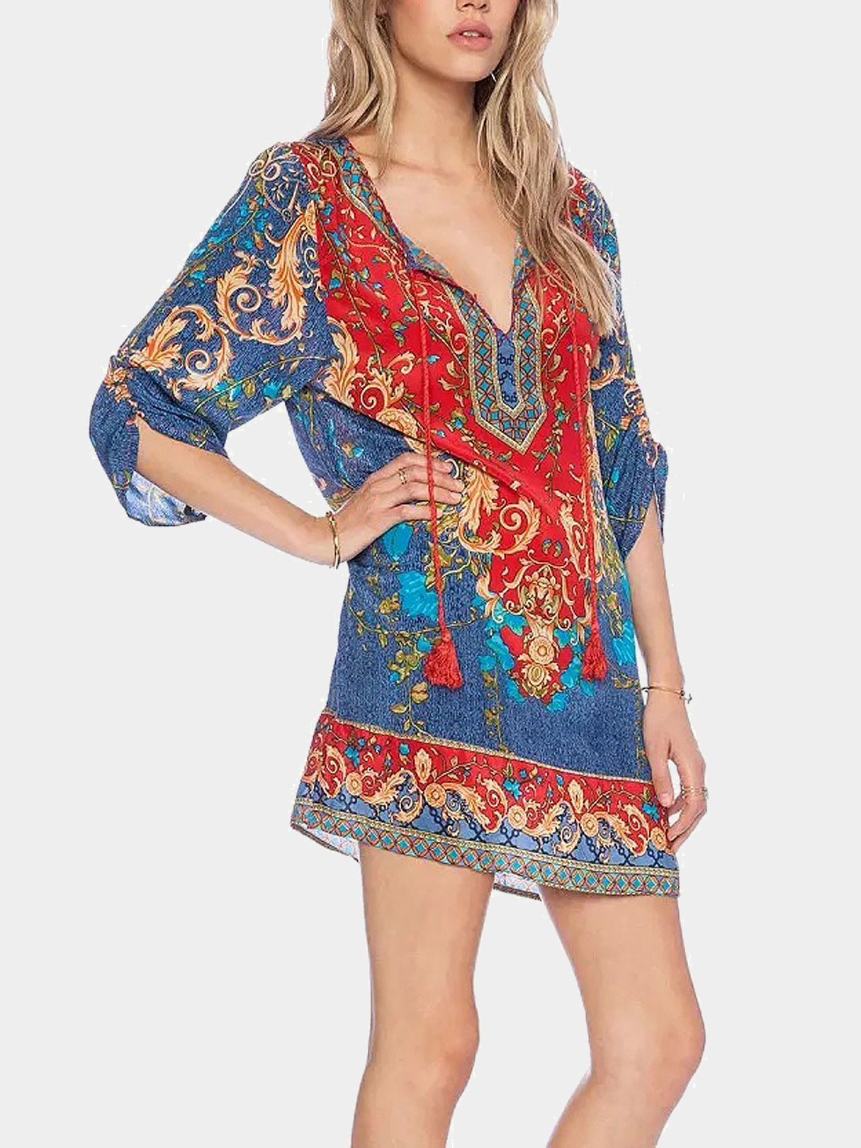 Loose Self Tie Dress With Half Sleeve