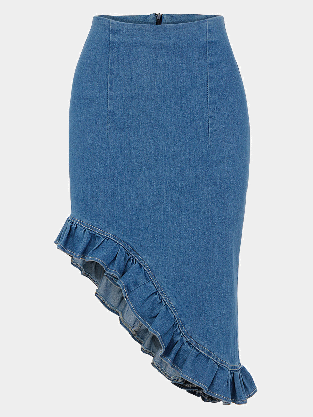 Denim Irregular Fishtail Pencil Skirt