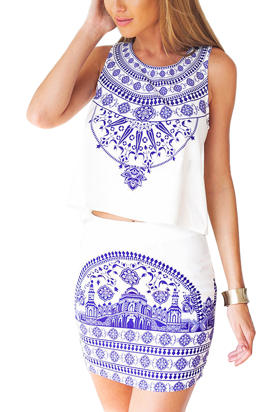 Porcelain Sleeveless Floral Crop Top With Skirt