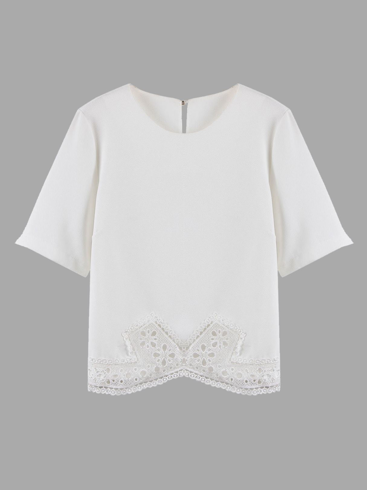 White Lace Hem Blouse