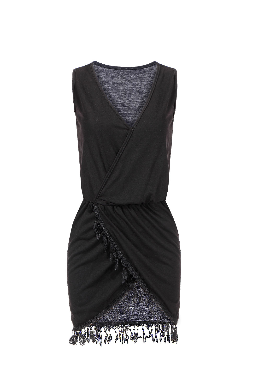 Black V Neck Sleeveless Tassel Wrap Dress