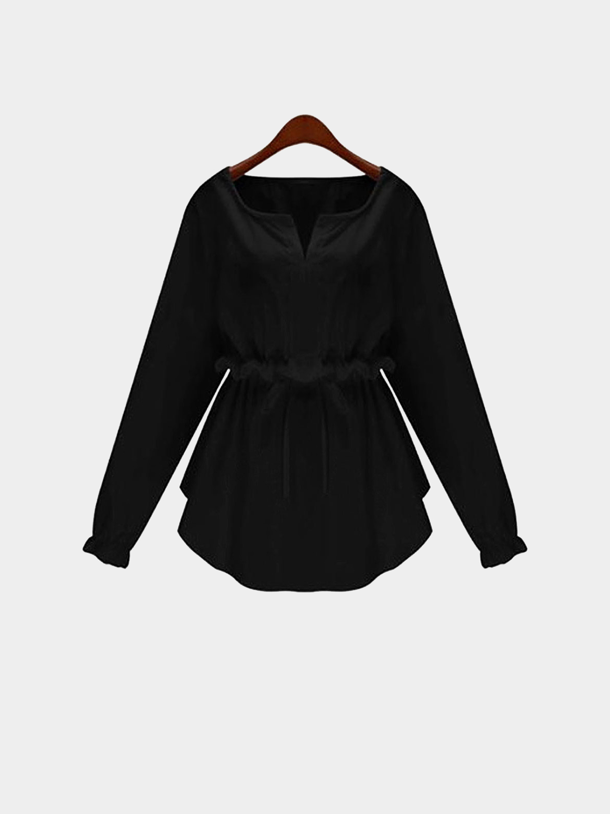 Plus Size Black Long Sleeve Flounced Blouse With Drawstring