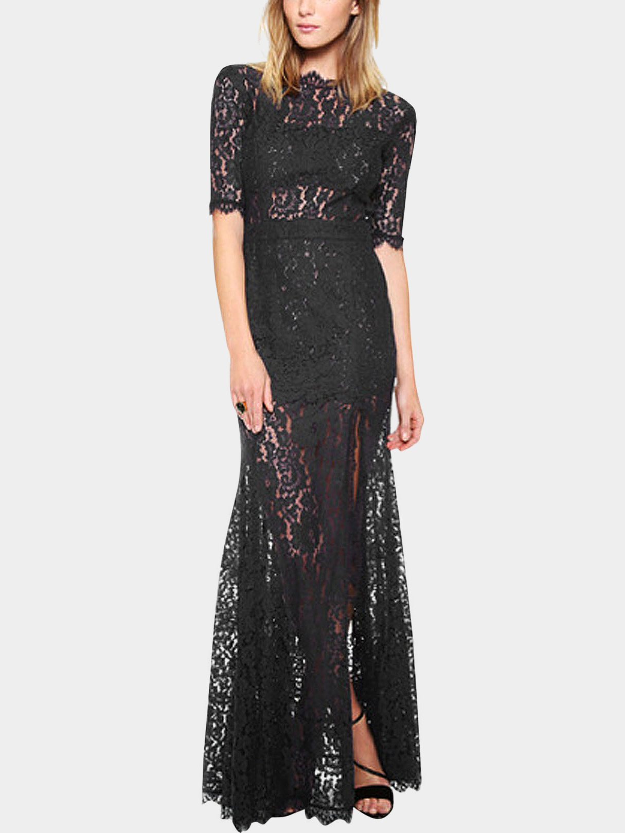Black Lace Open Back Maxi Dress