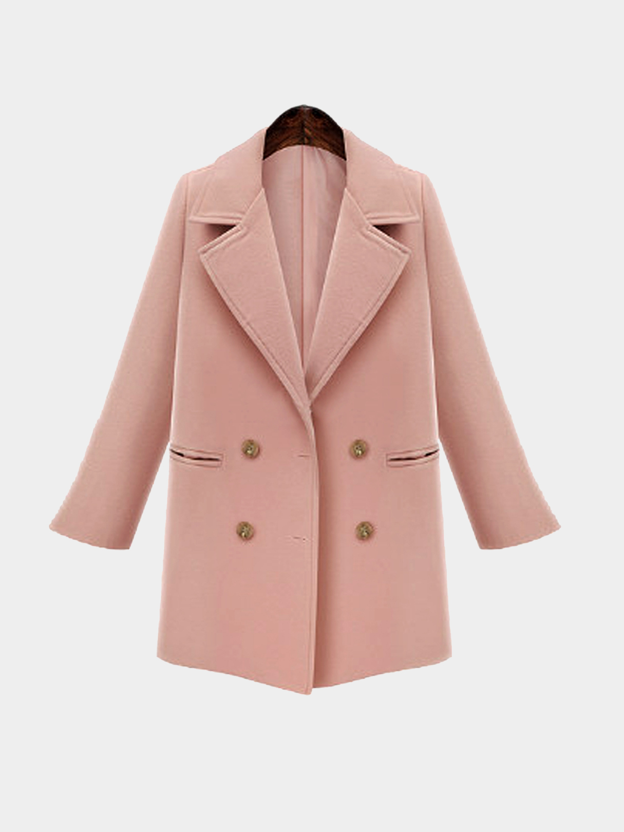 Plus Size Pink Double Breasted Duffle Coat