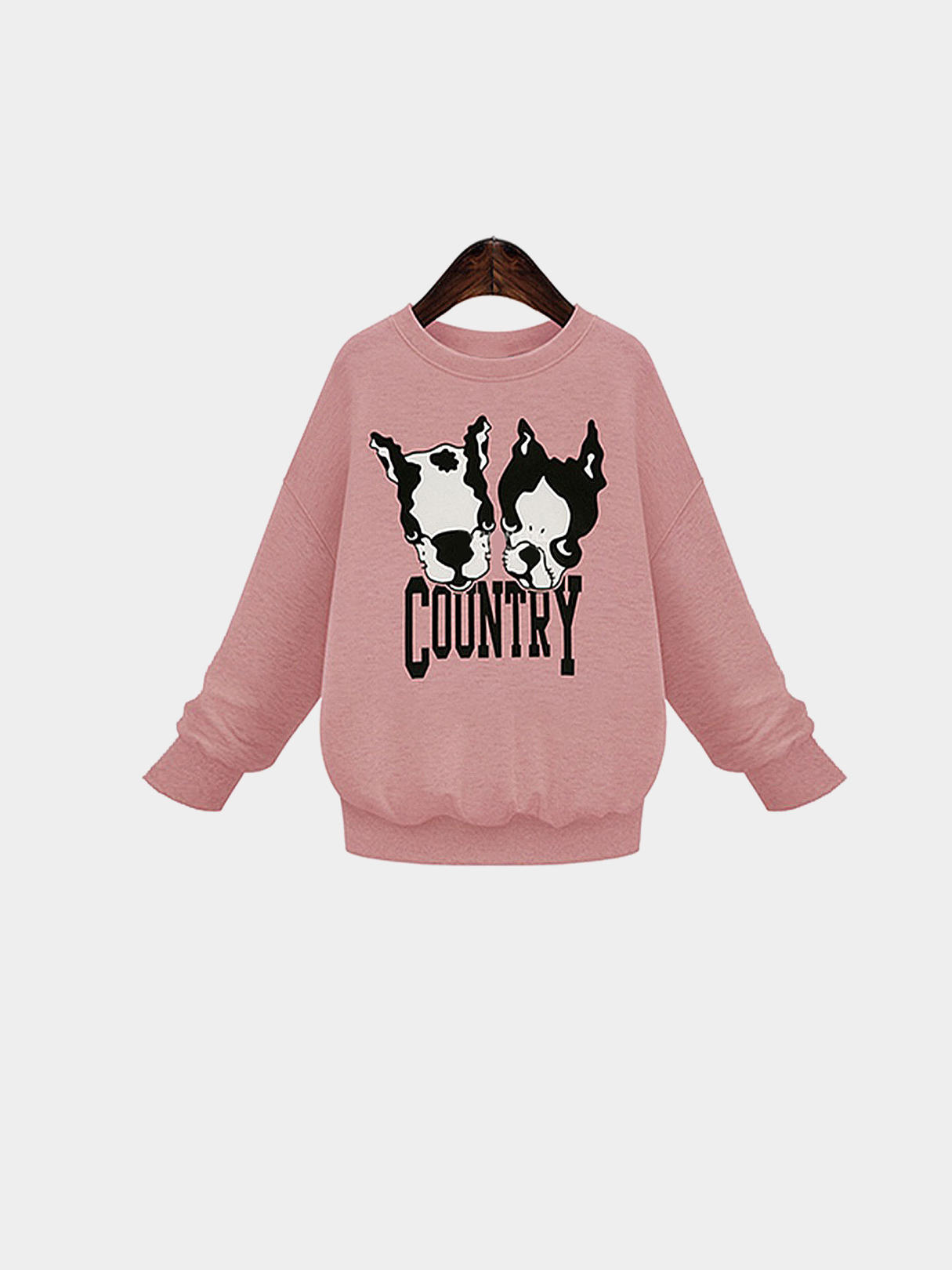 Pink Plus Size Dog and Letter Print Sweatshirt
