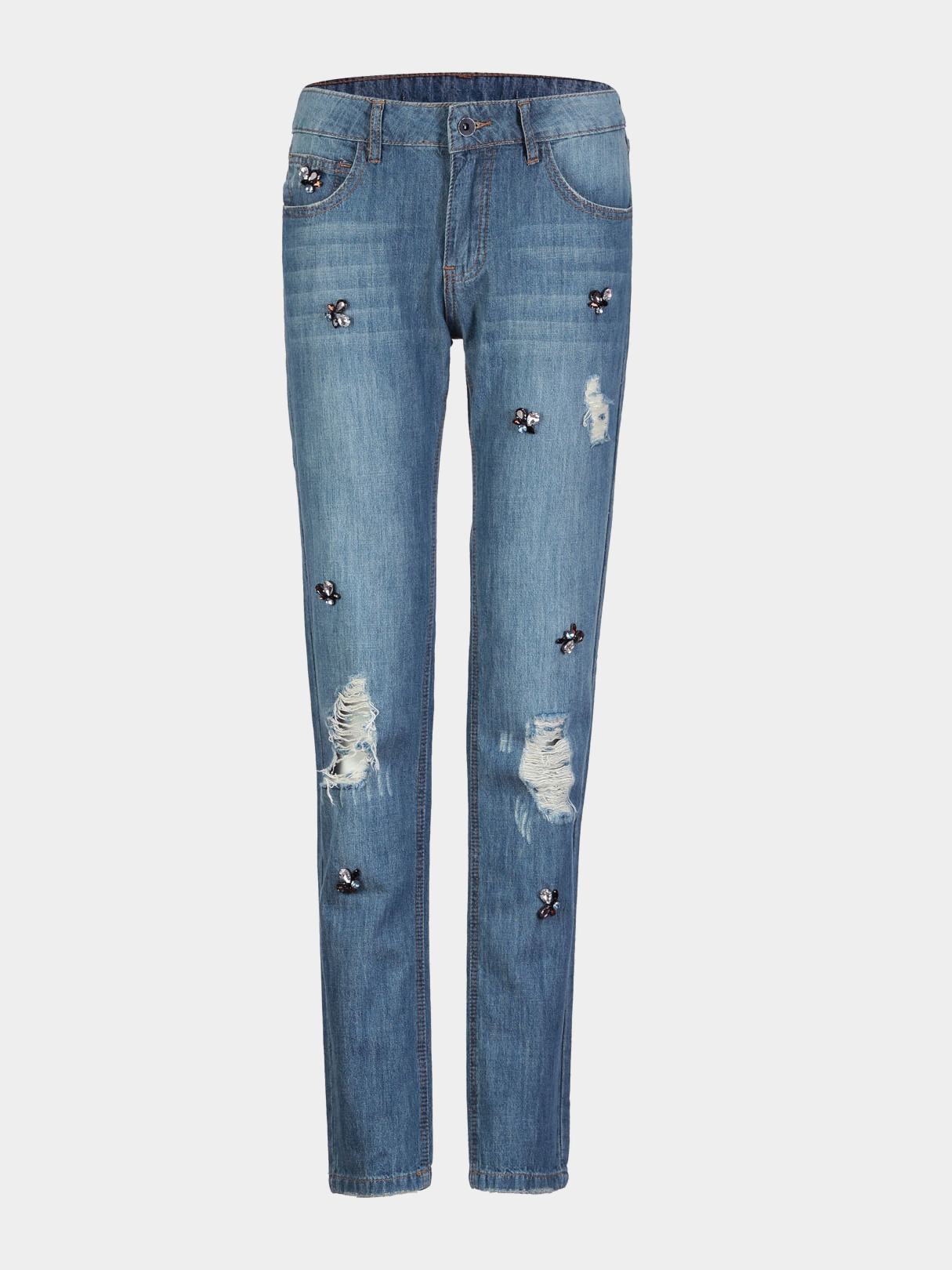 Ripped Jeans with Rhinestone Detail