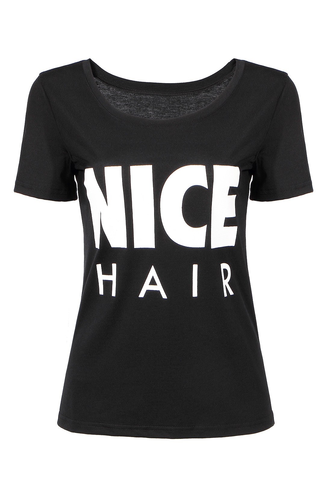 Black t shirt with white letter print us yoins for Letter print t shirt