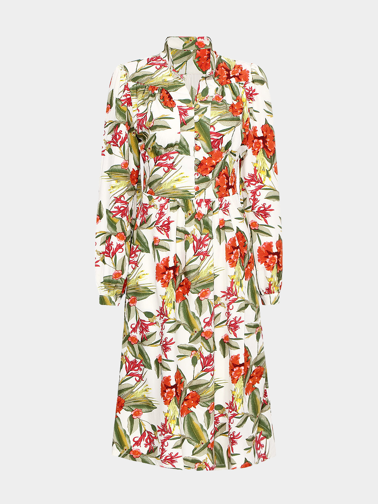 Colorful Midi Dress with Floral Print
