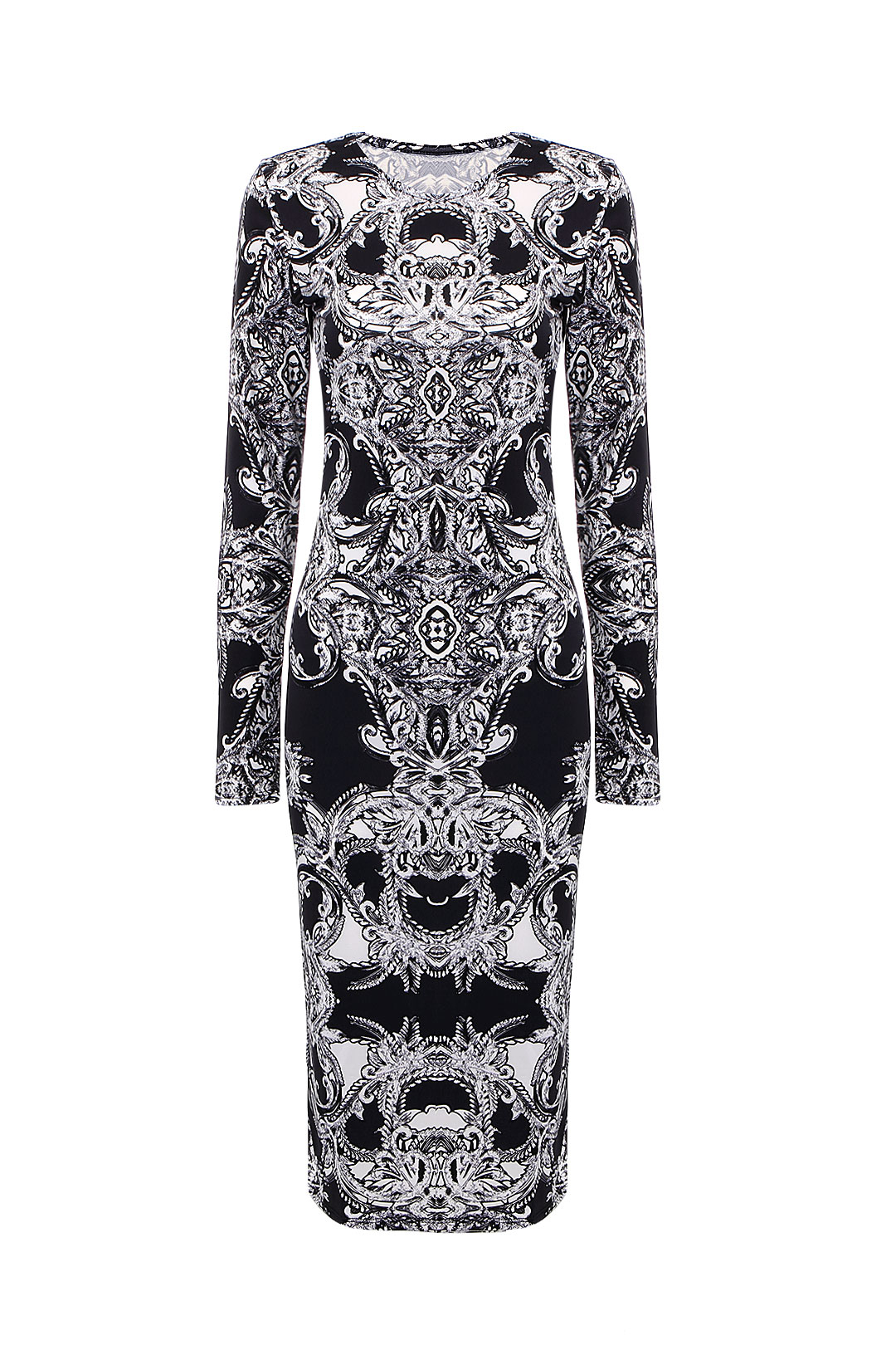 Vintage Floral Dress in Black and White