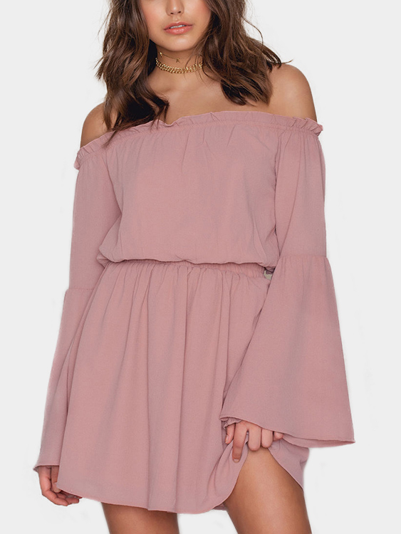 Pink Off Shoulder Flared Sleeves Ruffle Hem Mini Dresses zip back fit and flared plaid dress