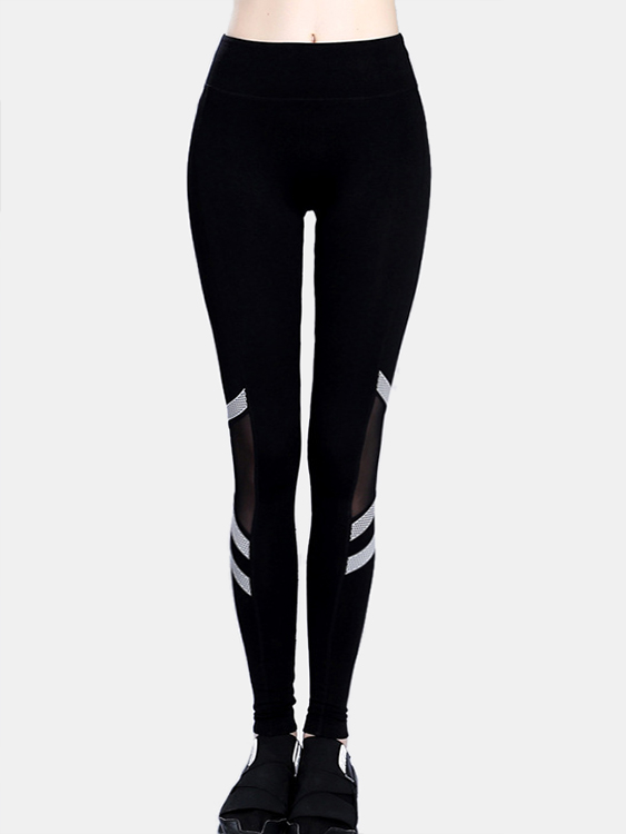 Active Net Yarn Stitching Design High Waisted Leggings in Black active stitching high waisted yoga leggings in blue