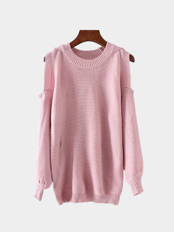 Pink Cold Shoulder Round Neck Long Sleeves Knitwear