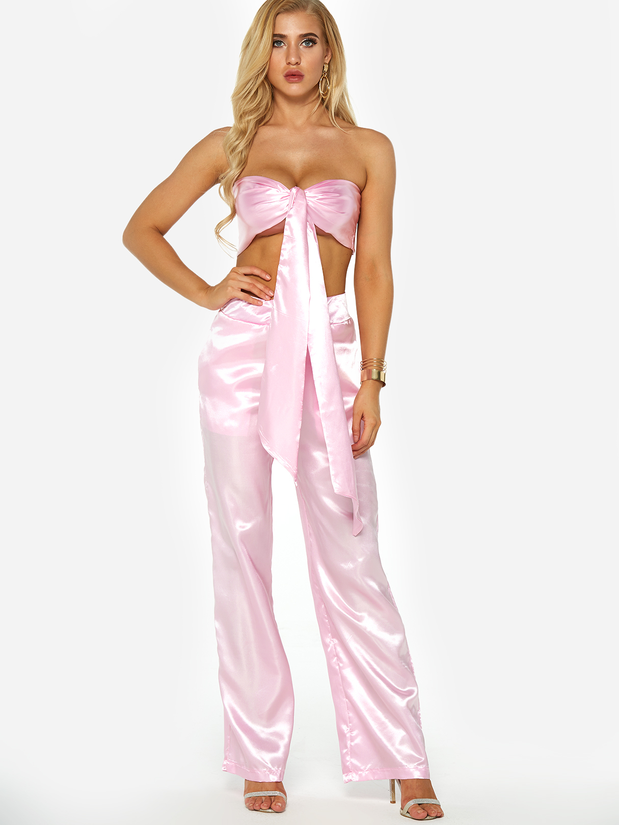 Фото - Pink Self Tie Tube Top & Harlan Pants Two Piece Outfits black self tie top with splited hem skirt two piece outfits