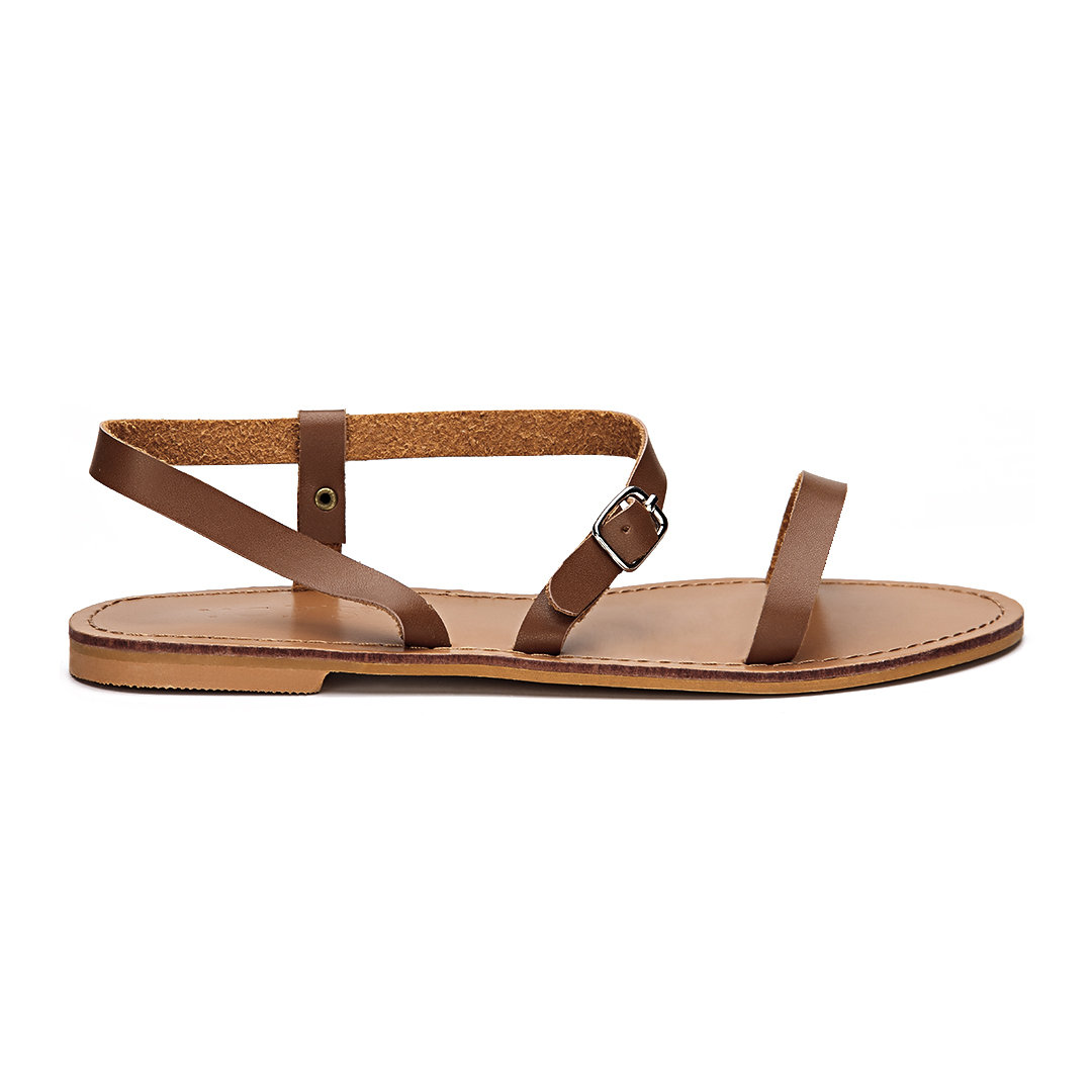 Brown Pin Buckle Strap Open Toe Simple Slip-on Style Sandals