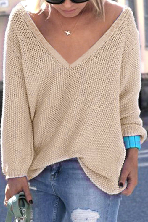 Beige Classic Design Loose Plunge Sweater brown classic design loose plunge sweater