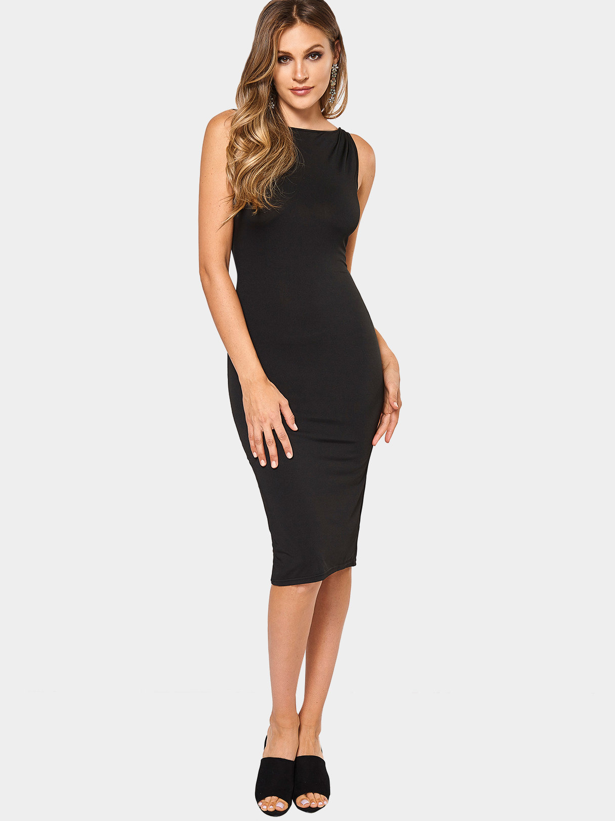 Black Fashion Round Neck Zip Front Bodycon Cami Dress fashion black zipper front lace outerwear