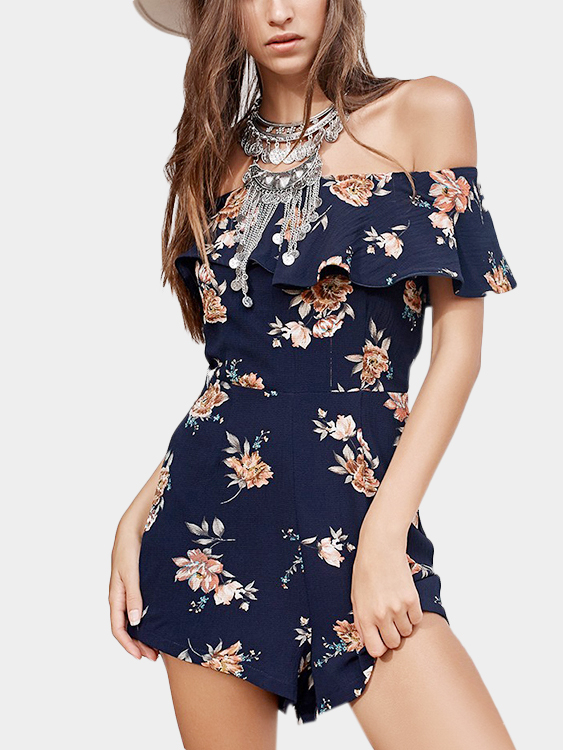 Vacation Random Floral Print Off Shoulder Layered Design Playsuit аксессуары для косплея random beauty cosplay