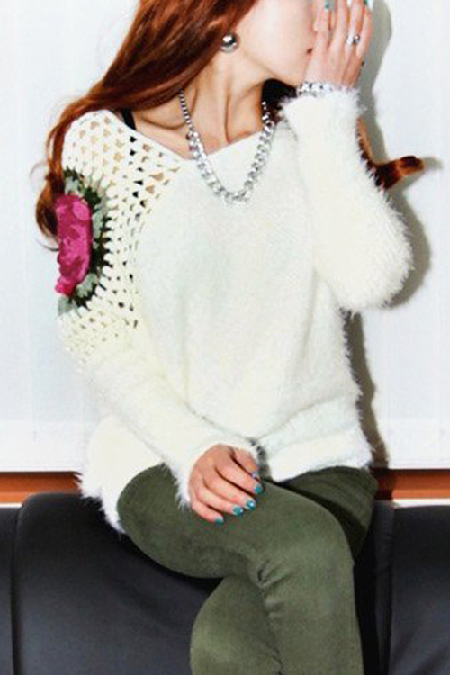 White Hollow Crochet Flower Design Irregular Hem Fuzzy Sweater n j patil r h chile and l m waghmare design of adaptive fuzzy controllers