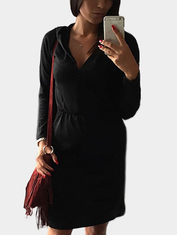 Black V-neck Long Sleeves Hooded Pencil Dress