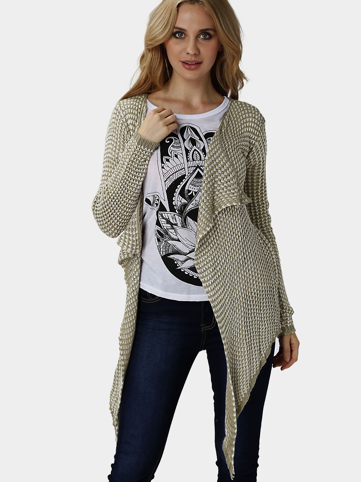 Casual Long Sleeves Irregular Hem Cardigan brown stripe pattern irregular hem cardigan