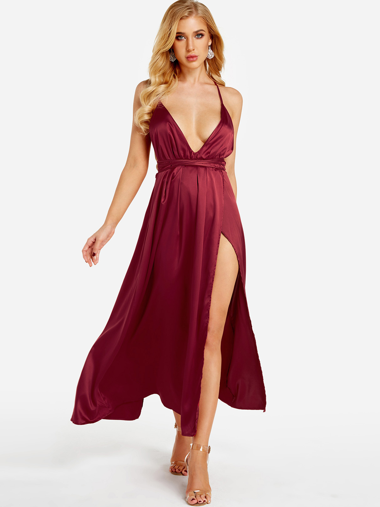 Burgundy Backless Design Deep V Neck Party Dress it s a party dress короткое платье