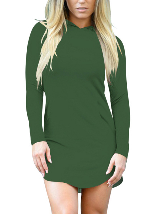 Army Green Side Pockets Curved Hem Mini Hooded Dress batwing sleeve pocket side curved hem textured dress