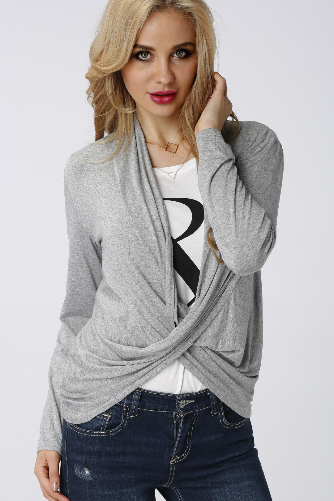 Grey Top with Wrap Front in Crepe