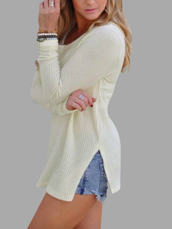 White Side Splited Round Neck Long Sleeves Knitwear
