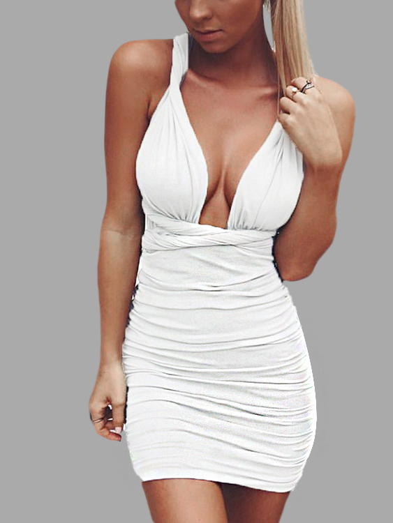 White Sexy Self-tie Design Pleated Bodycon Dress orange pleated design zipper front sleeveless sexy mini dress
