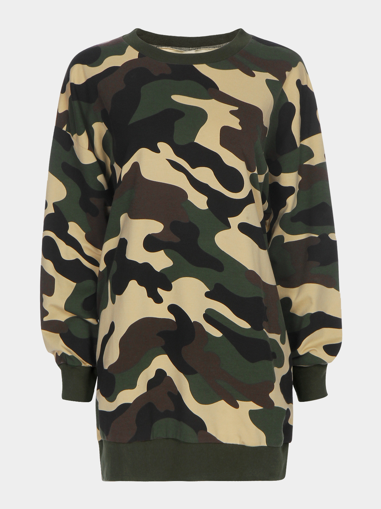 Camo Round Neck Long Sleeves Fashion Sweatshirt