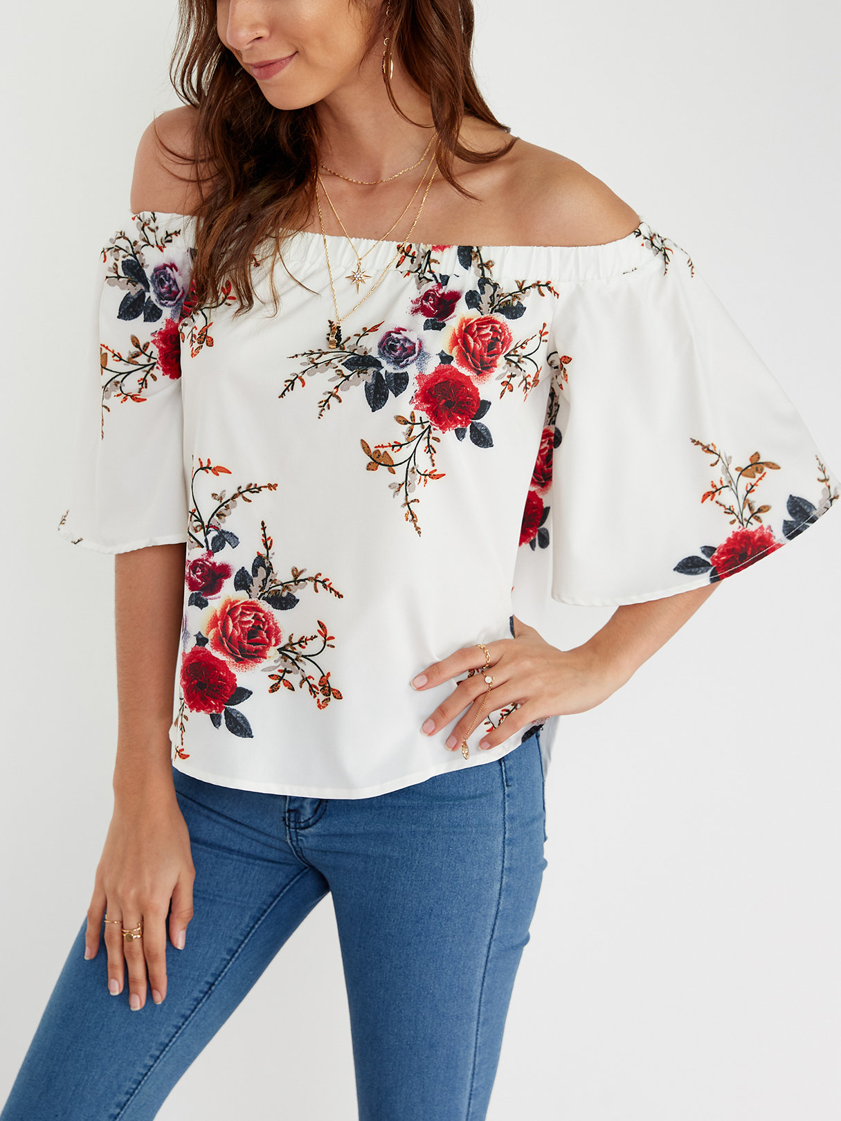 White Sexy Off Shoulder Random Floral Print Blouse cute off the shoulder black floral printed short blouse for women
