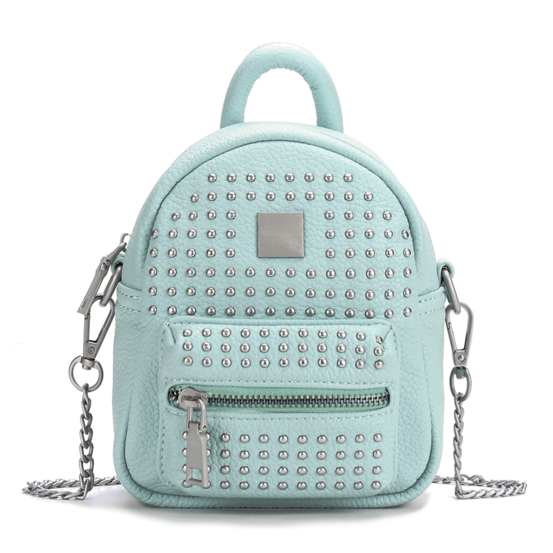 Rivet Deisgn Leather-look Mini Backpack in Green