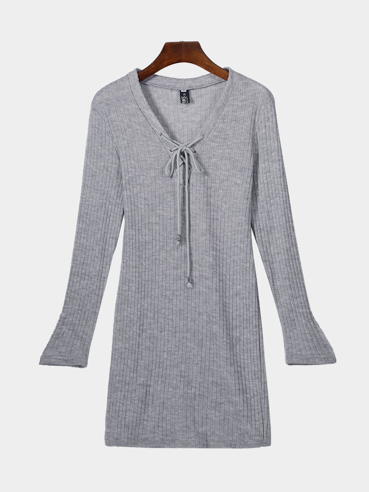 Grey Knitted V-neck Lace-up Front Mini Thin Dress
