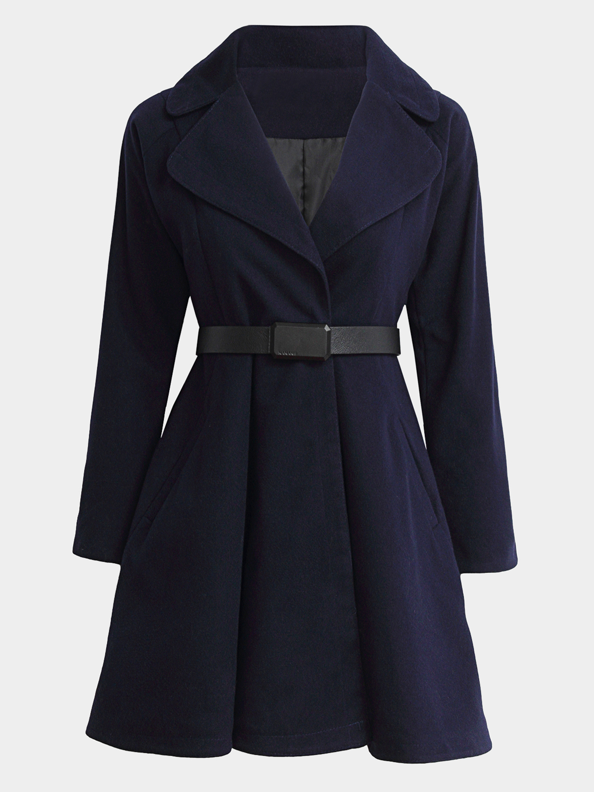 Navy Blue Fashion Lapel Collar Outerwear with Seamed Pocket lapel collar top with front pocket in light grey