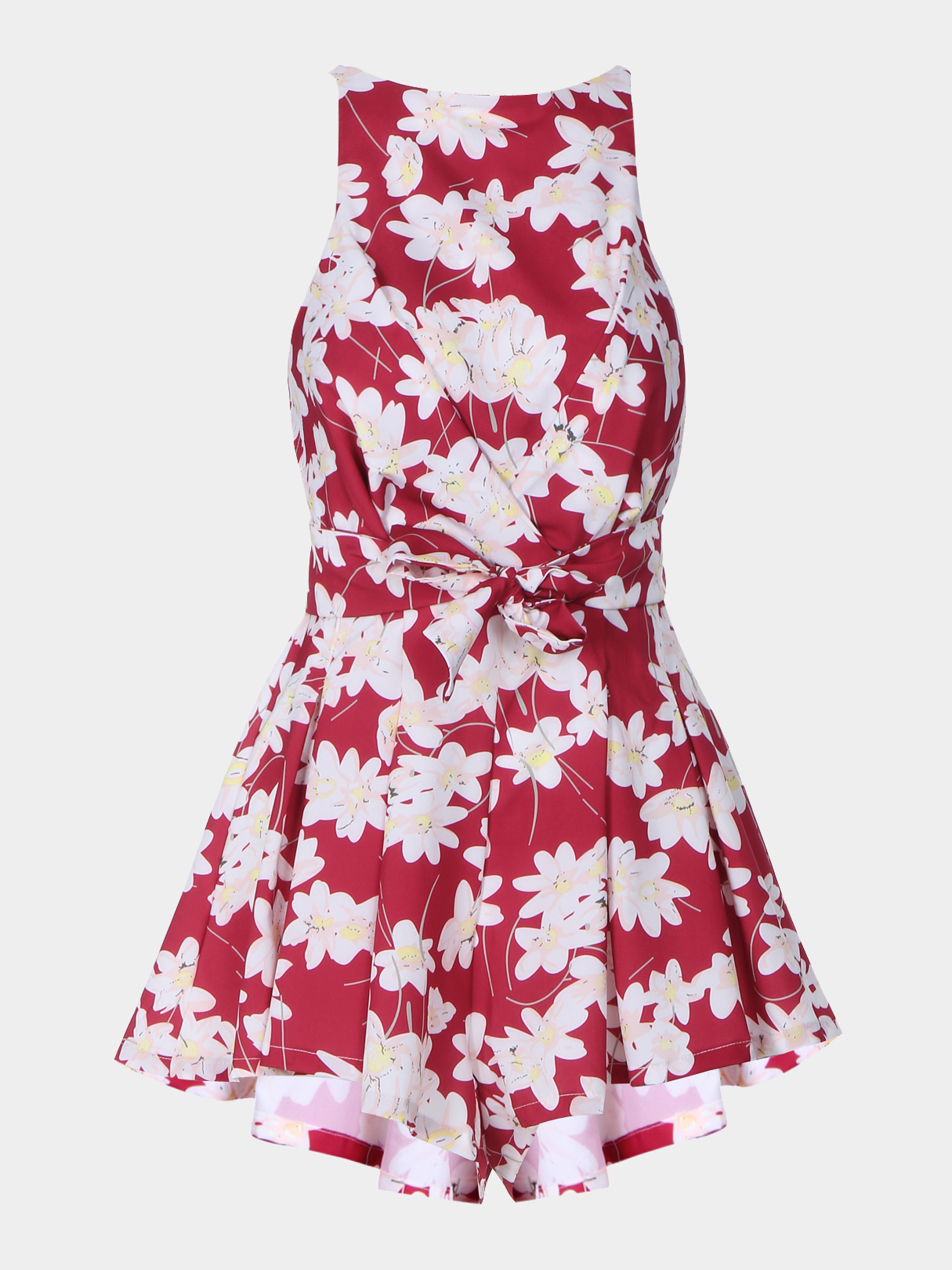 Sleeveless Tie Up Detail Playsuit with Flower Print