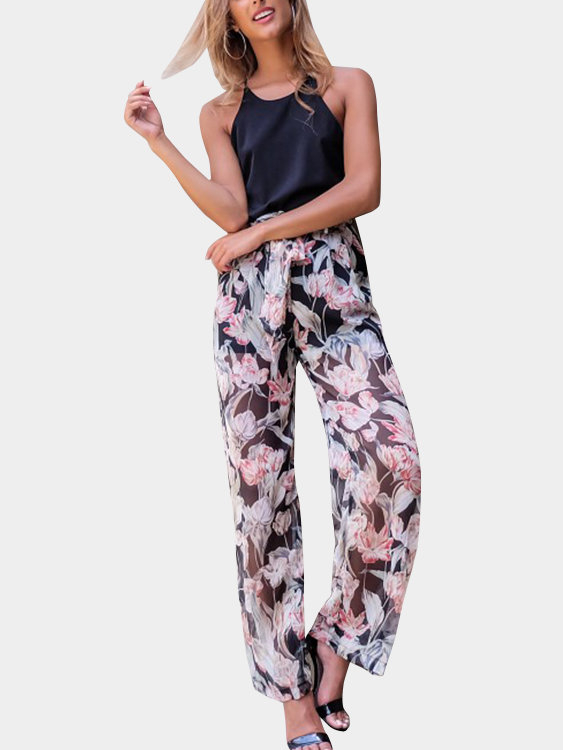 Random Floral Print See Through Wide Leg Trousers аксессуары для косплея random beauty cosplay