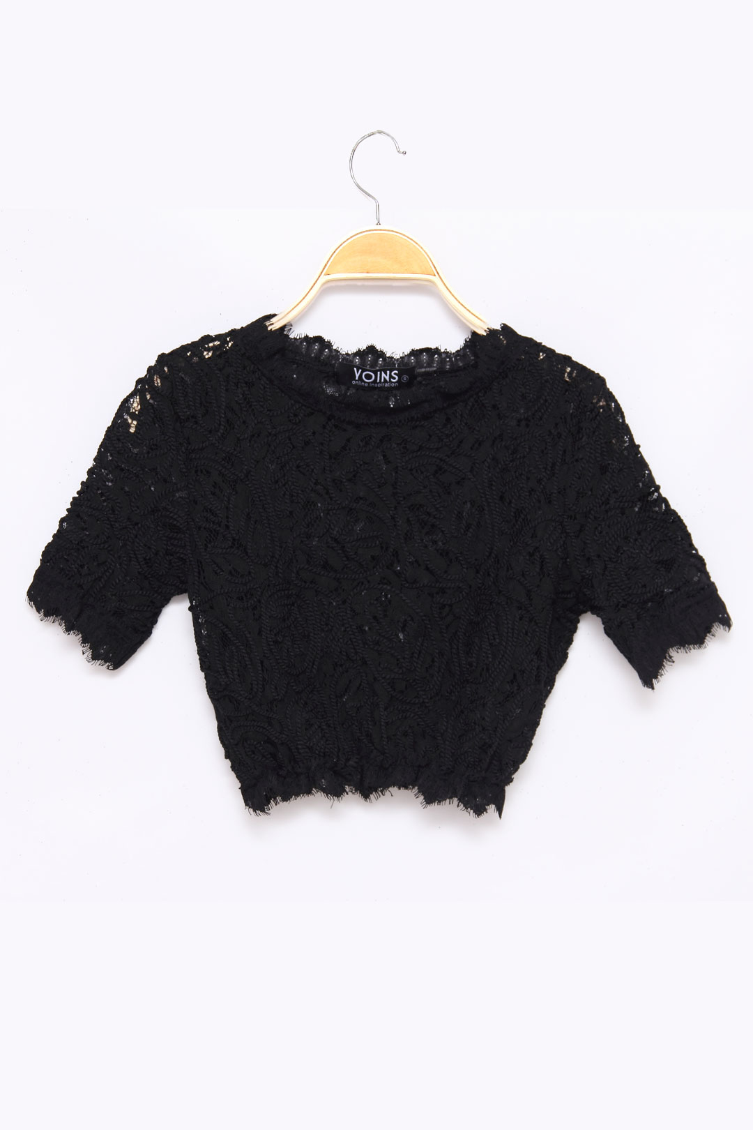 Black Sexy Embroidery Lace Crop Top