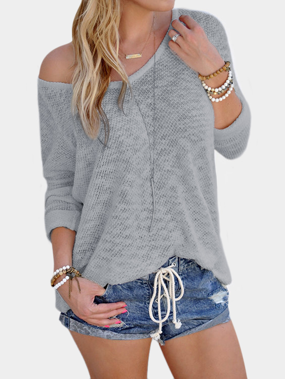 Grey Sexy V Neck Long Sleeves Knitted T-shirt dark grey slit side wide v neck long sleeves knitted top