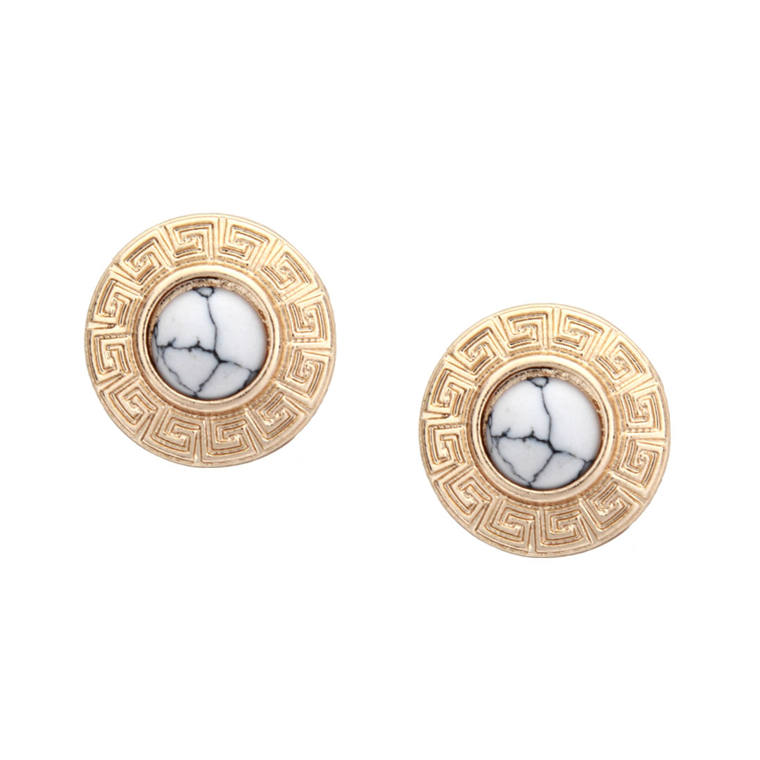 Howlite Round Stud Earrings