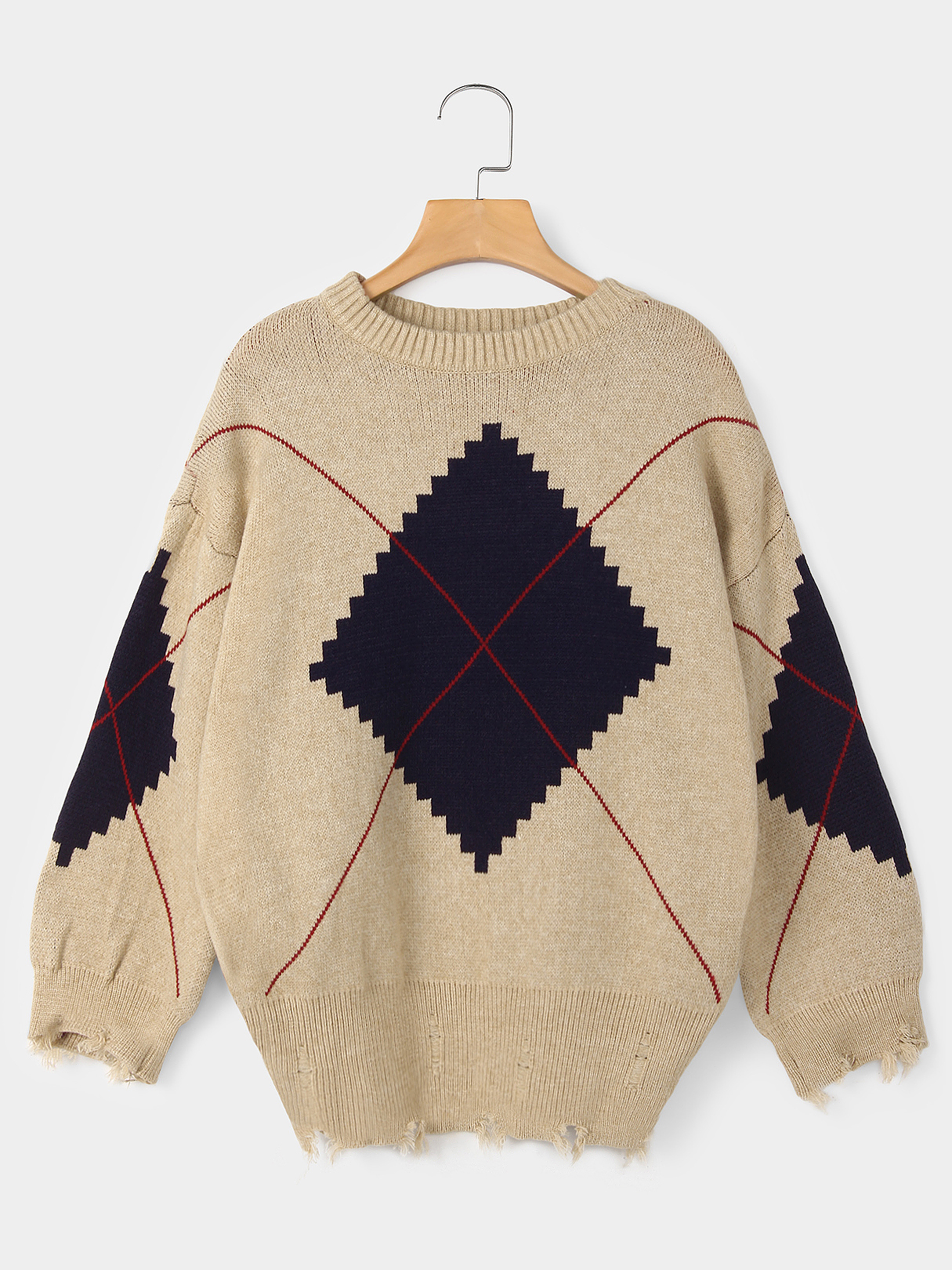 цена на Beige Ripped Details Diamond Pattern Round Neck Long Sleeves Casual Sweater