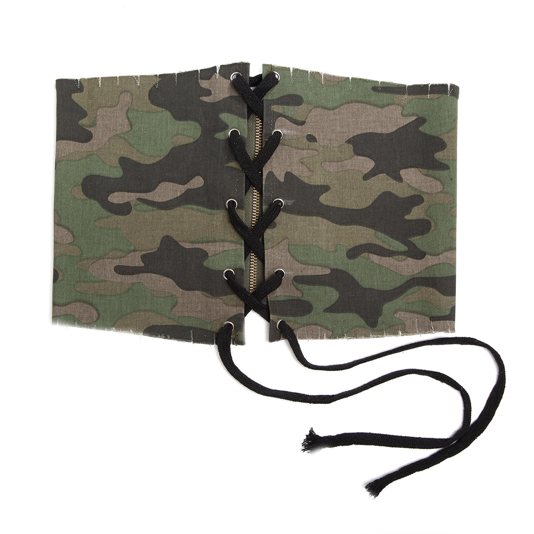 Camouflage Party Lace-up Zipper Back Waist Belt