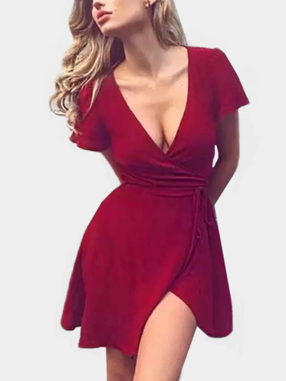 Crimson Deep V-neck Short Sleeves Irregular Hem Sexy Dress