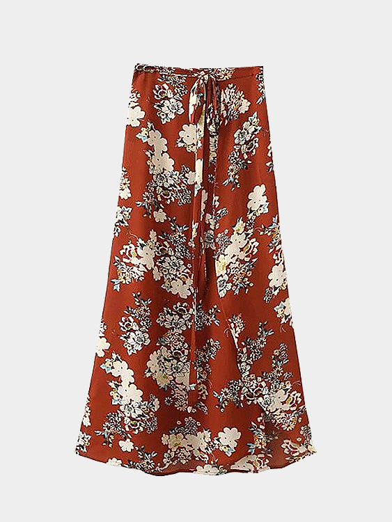 Beach Floral Print Split Maxi Chiffon Skirt with Tie Waist inc beach new purple white tie dye women s size medium m pull on maxi skirt $69