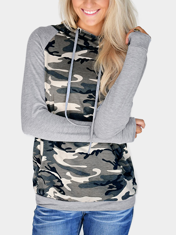 Camouflage Patch Pocket Long Sleeves Hooded Sweatshirts