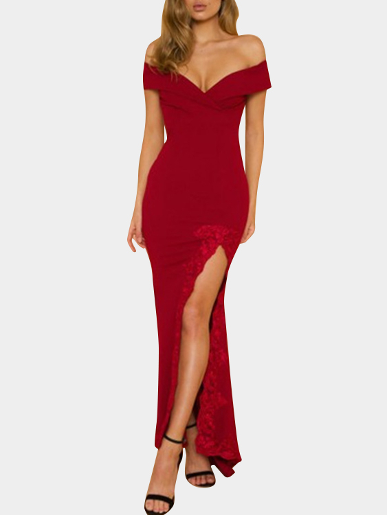 Red Deep V-neck Off Shoulder Crochet Lace Slit Hem Sexy Maxi Dress red sexy v neck slit hem vest