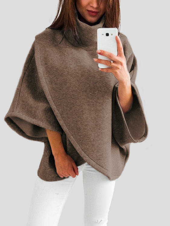 Brown Chimney Collar Flared Sleeves Irregular Hem Sweater plum chimney collar flared sleeves irregular hem sweater