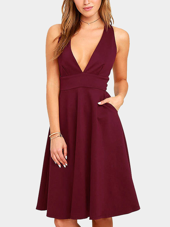 Burgundy Side Pockets Deep V Neck Sleeveless High-waisted Dresses